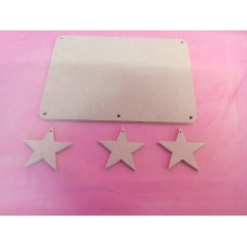 4mm Thick MDF Plaque  rounded corners With Stars 180mm wide